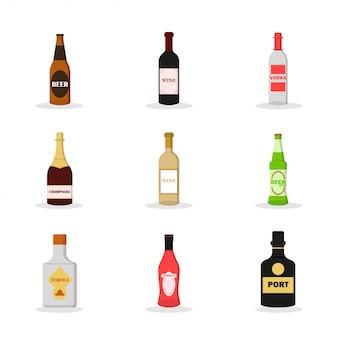 Conjunto plano de alcohol. bebida alcoholica. juego de cerveza oscura, vino tinto, vodka, champagne, vino blanco, cerveza ligera, tequila, vermut, puerto