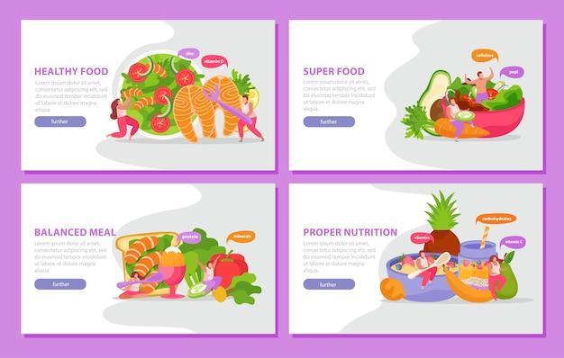 Conjunto plano de alimentos saludables y súper de pancartas horizontales con imágenes de comida bien equilibrada