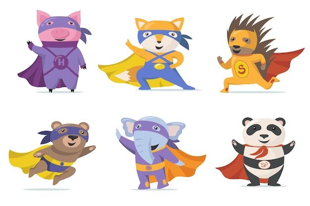 Conjunto plano de animales divertidos superhéroes