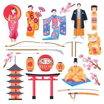 Conjunto plano antiguo de japón