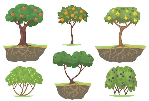 Conjunto plano de árboles frutales verdes y arbustos de bayas