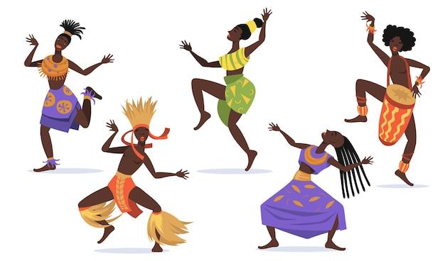 Conjunto plano de bailarinas africanas para diseño web. dibujos animados aborígenes bailando danza folklórica o ritual aislado colección de ilustraciones vectoriales. danza tribal y concepto de áfrica