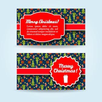 Conjunto plano de banners de vacaciones horizontales con árboles de navidad