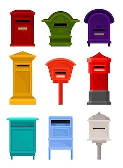 Conjunto plano de buzones. contenedores coloridos para cartas y periódicos. cajas postales de hierro para correspondencia