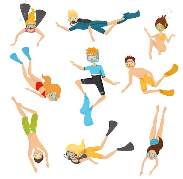 Conjunto plano de buzos jóvenes. personas en trajes de baño nadando bajo el agua. recreación activa. buceo y esnórquel