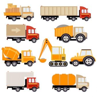 Conjunto plano de camiones de trabajo