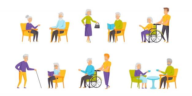 Conjunto plano de carácter de personas pensionistas