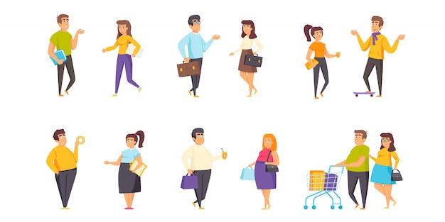 Conjunto plano de caracteres de personas gordas y delgadas