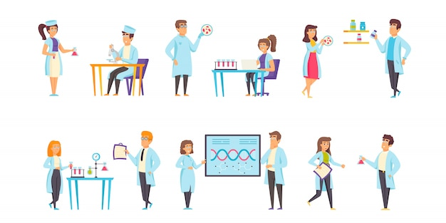 Conjunto plano de caracteres de personas de laboratorios médicos