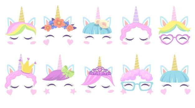 Conjunto plano de caras de unicornios bonitos pony