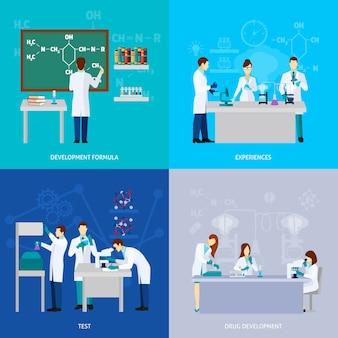Conjunto plano de científicos