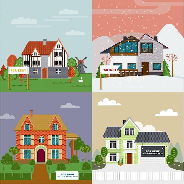 Conjunto plano de coloridas villas y cabañas