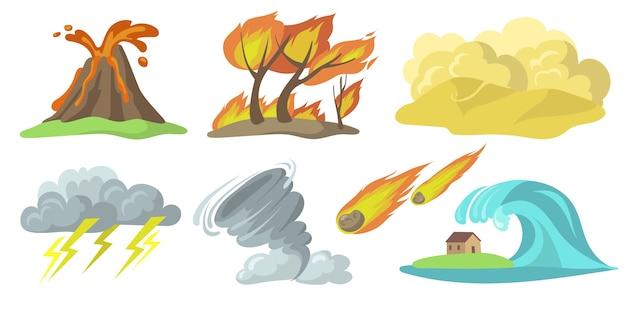 Conjunto plano de coloridos desastres naturales