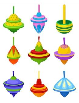 Conjunto plano de coloridos molinetes. juguete tradicional para niños. peonza de plástico sobre fondo blanco.
