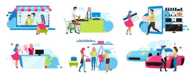 Conjunto plano comercial. compra de bienes y servicios en centro comercial, supermercado, concesionario. comprar cosas en línea y en la tienda. vendedor y cliente personajes de dibujos animados aislados
