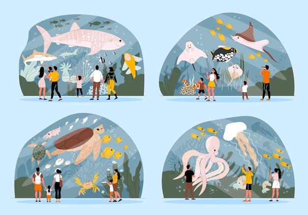 Conjunto plano de composiciones con visitantes del oceanario que miran un gran acuario aislado ilustración