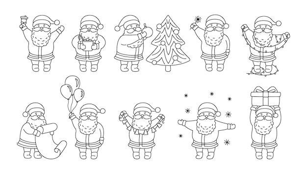 Conjunto plano de contorno de navidad santa claus. colección lineal divertido personaje feliz con árbol de navidad, regalo y guirnalda, globos o lista.