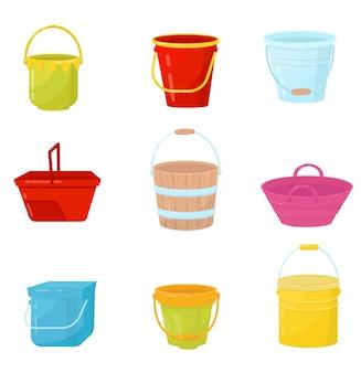 Conjunto plano de cubos de colores. cubos de agua de plástico, madera y metal. contenedores para transportar líquidos u otros materiales.