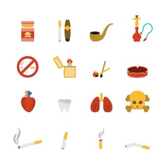Conjunto plano de icono de fumar