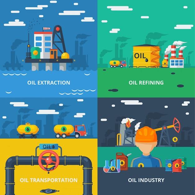 Conjunto plano de la industria petrolera