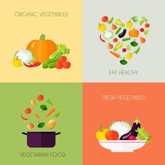 Conjunto plano de verduras