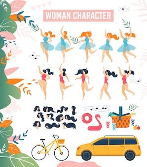 Conjunto plano de dibujos animados mujer personaje vacaciones de verano