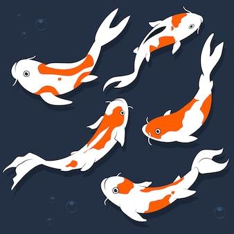 Conjunto plano de dibujos animados de peces koi aislado en un blanco
