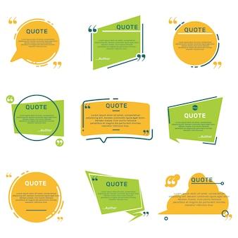Conjunto plano de diferentes marcos de comentarios de cita