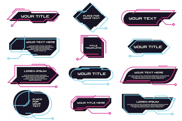Conjunto plano de diferentes títulos y banners futuristas.