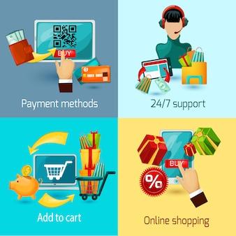 Conjunto plano de e-commerce