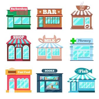 Conjunto plano de edificios de tiendas y tiendas.