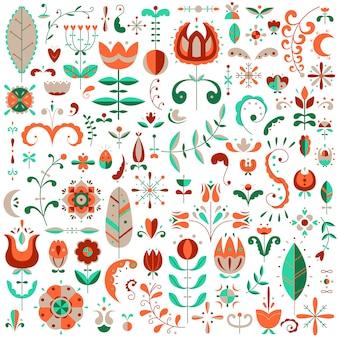 Conjunto plano de elementos escandinavos. flores y garabatos