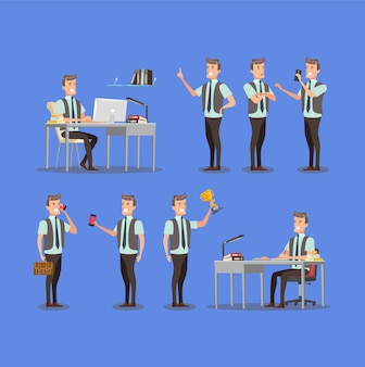Conjunto plano - empresario con diferentes poses