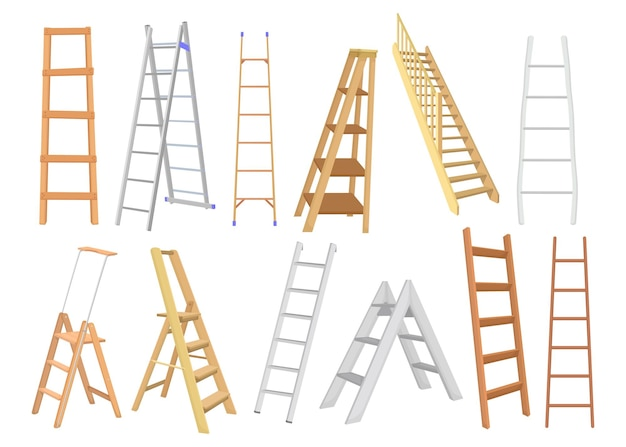 Conjunto plano de escaleras creativas de metal y madera.