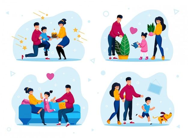 Conjunto plano de escenas de vida de personajes familiares