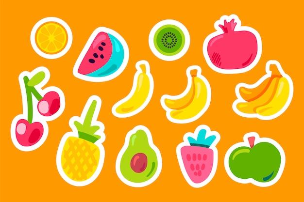 Conjunto plano de frutas tropicales
