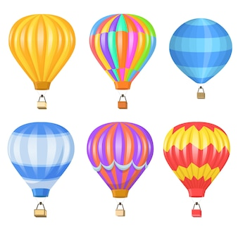 Conjunto plano de globo de aire colorido brillante