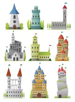 Conjunto plano de grandes castillos de cuento de hadas. palacios medievales con altas torres y techos cónicos. fortalezas o fortaleza con muro fortificado y torres