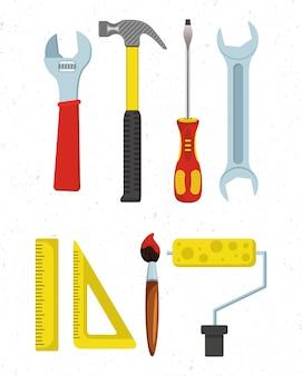 Conjunto plano de herramientas de carpintería