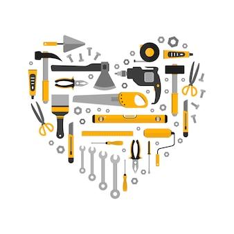 Conjunto plano de herramientas de trabajo en forma de corazón