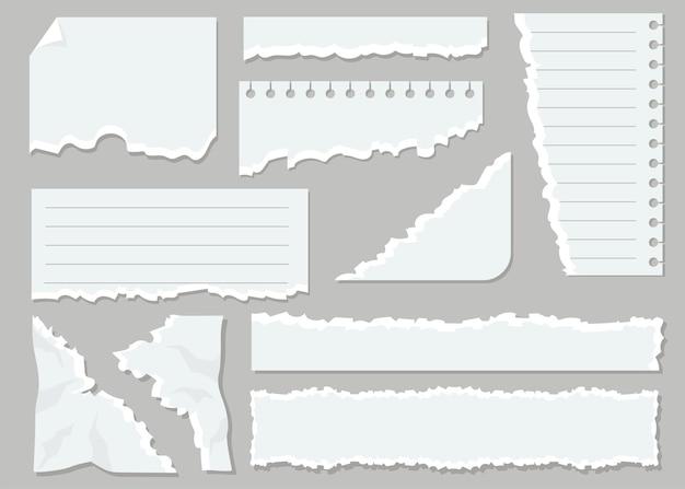 Conjunto plano de hojas de papel rasgadas blancas