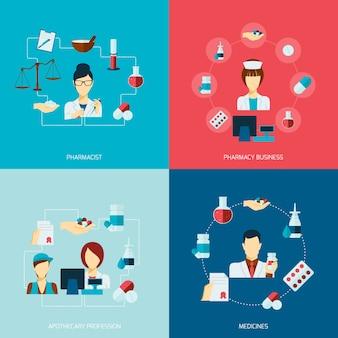 Conjunto plano de icono de farmacéutico
