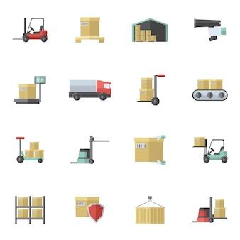 Conjunto plano de iconos de almacén
