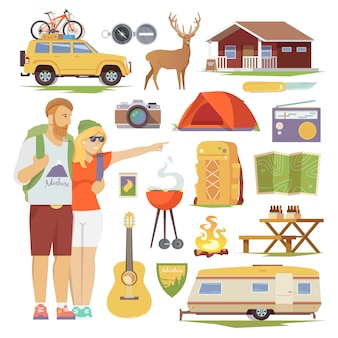 Conjunto plano de iconos de camping