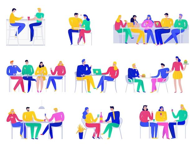Conjunto plano de iconos de colores con gente comiendo en pizzería aislado en blanco