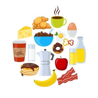 Conjunto plano de iconos de desayuno