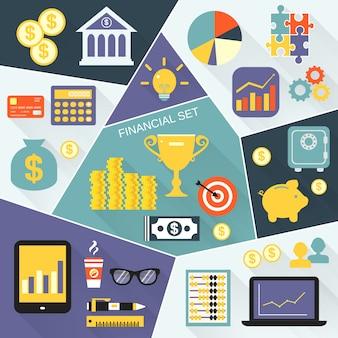 Conjunto plano de iconos financieros