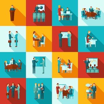 Conjunto plano de iconos de formación empresarial