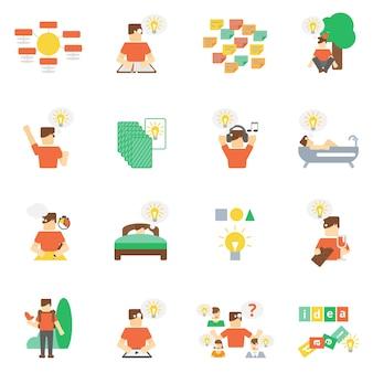 Conjunto plano de iconos de ideas