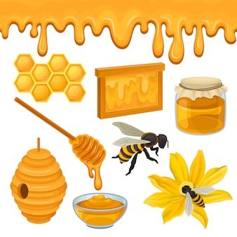 Conjunto plano de iconos relacionados con el tema de producción de miel. abeja en flor, panal, colmena, recipiente de vidrio y jarra, cucharón de madera. producto natural